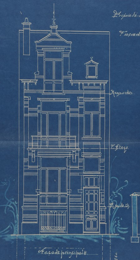 Rue Luther 8, Bruxelles Extension Est, projet non réalisé, élévation, AVB/TP 15242 (1902).