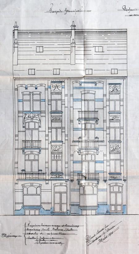 Avenue Chazal 25 et 23, Schaerbeek, élévation avant, ACS/Urb. 46-25-27 (1914).