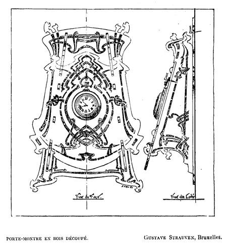 Projet de porte-montre (<i>La Gerbe, Revue d'Art décoratif et de Littérature</i>, I<sup>re</sup> année, n<sup>o</sup> 3, avril 1898, p. 86).