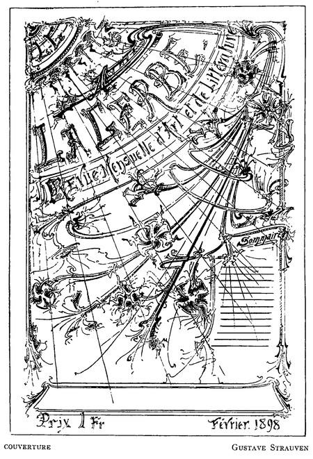 Projet de couverture pour la revue <i>La Gerbe</i> (<i>La Gerbe, Revue d'Art décoratif et de Littérature</i>, I<sup>re</sup> année, n<sup>o</sup> 1, 15 février 1898, p. 2).