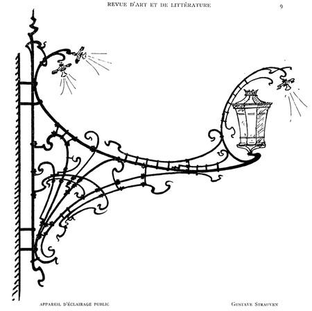Projet de réverbère en fer forgé (<i>La Gerbe, Revue d'Art décoratif et de Littérature</i>, I<sup>re</sup> année, n<sup>o</sup> 1, 15 février 1898, p. 9).