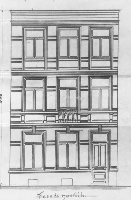 Rue Saint-Martin 73, Tournai, élévation avant, état projeté, AET/Ville de Tournai/Voirie 17640/Plans 4654 (1905).