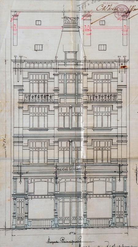 Rue Josaphat 247-253, Schaerbeek, élévation, ACS/Urb. 154-247-253 (1907).