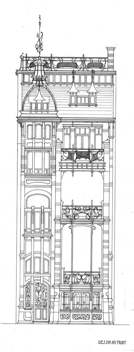 Avant-projet de maison, avenue de Tervueren, Woluwe-Saint-Pierre, élévation (Archives UCL, Faculté LOCI/Fonds des Instituts Saint-Luc/T. Debecker et M. Druine).