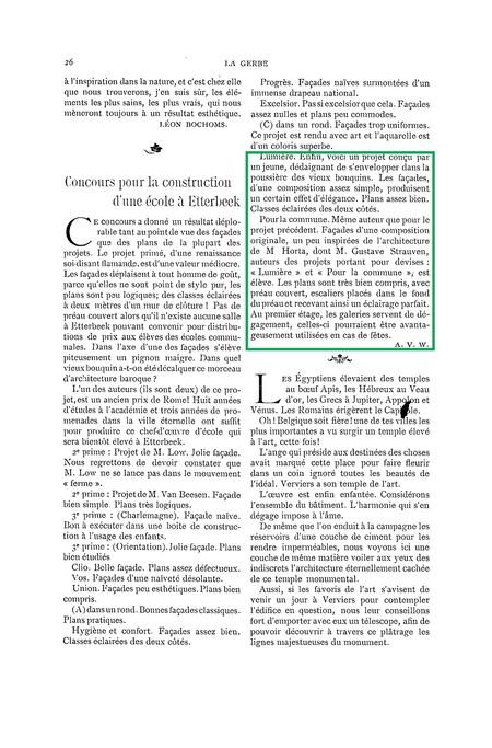 <i>La Gerbe, Revue d'Art décoratif et de Littérature</i>, I<sup>re</sup> année, n<sup>o</sup> 1, 15 février 1898, p. 26.