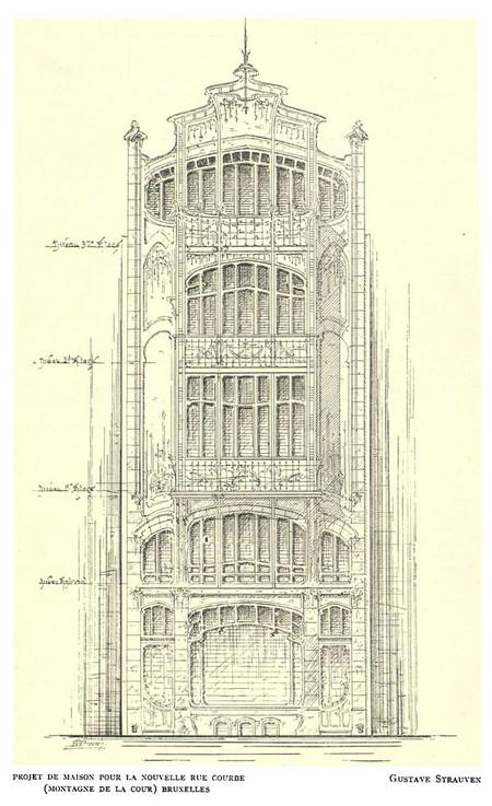 Projet de maison pour la Montagne de la Cour (aujourd'hui Mont des Arts), Bruxelles (<i>La Gerbe, Revue d'Art décoratif et de Littérature</i>, I<sup>re</sup> année, n<sup>o</sup> 1, 15 février 1898, p. 11).