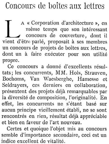 Projet de boîte aux lettres (<i>La Gerbe, Revue d'Art décoratif et de Littérature</i>, I<sup>re</sup> année, n<sup>o</sup> 1, 15 février 1898, p. 23).