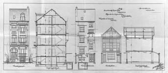 Rue Charles Quint 29, Bruxelles Extension Est, maison et atelier arrière, élévations et coupes longitudinales, AVB/TP 8806 (1902).