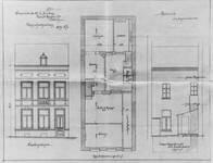 Rue Saint-Martin 73, Tournai, élévations avant et arrière et plan du rez-de-chaussée, état actuel, AET/Ville de Tournai/Voirie 17640/Plans 4654 (1905).