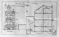 Rue Luther 8, Bruxelles Extension Est, projet non réalisé, élévation et coupe longitudinale, AVB/TP 15242 (1902).