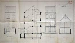 Rue Saint-Quentin 28, Bruxelles Extension Est, projet non réalisé, élévations avant et arrière, coupe longitudinale et élévation d'un atelier, AVB/TP 21433 (1899).