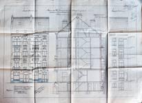 Avenue Chazal 25 et 23, Schaerbeek, élévations avant et arrière et coupe longitudinale, ACS/Urb. 46-25-27 (1914).