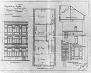 Rue Saint-Martin 73, Tournai, élévation avant et arrière et plan du rez-de-chaussée, état projeté, AET/Ville de Tournai/Voirie 17640/Plans 4654 (1905).