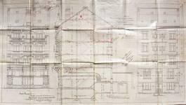 Rue Josaphat 247-253, Schaerbeek, élévations avant et arrière et coupe longitudinale, ACS/Urb. 154-247-253 (1907).