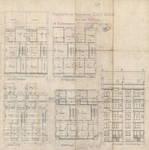 Rue des Coteaux 53-55 et 57-59, Schaerbeek, plans des niveaux et élévation arrière, ACS/Urb. 58-53-59 (1907).