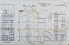 Rue de la Consolation 67, Schaerbeek, élévations avant et arrière et coupe longitudinale, ACS/Urb. 54-67 (1907).