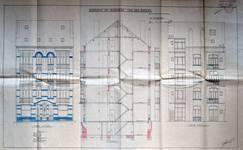 Avenue Chazal 17a-21, Schaerbeek, élévations avant et arrière et coupe longitudinale, ACS/Urb. 46-17a-21 (1914).