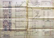 Avenue Louis Bertrand 92, Schaerbeek, élévations avant et arrière et coupe longitudinale, ACS/Urb. 176-92 (1908).