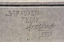 Aalstersesteenweg 38, Ninove, signature et date (© APEB, photo 2016).