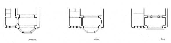 Avant-projet de maison, avenue de Tervueren, Woluwe-Saint-Pierre, plans des niveaux, détails (Archives UCL, Faculté LOCI/Fonds des Instituts Saint-Luc/T. Debecker et M. Druine).