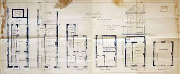 Rue des Éburons 21, Bruxelles Extension Est, plans des trois niveaux de la maison, élévation et plans de l'atelier, AVB/TP 10393 (1901).