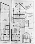 Leuvensesteenweg 282-284, Brussel Uitbreiding Oost, grondplannen en langsdoorsnede van het huis, opstand van het atelier, SAB/OW 14988 (1903).