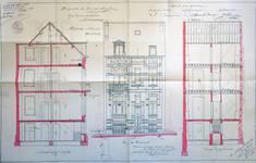 Rue Victor Lefèvre 55, Schaerbeek, élévation, coupes longitudinale et transversale, ACS/Urb. 279-55 (1909).