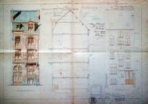 Avenue des Frères Haeghe 25, Tournai, élévations avant et arrière et coupe longitudinale, AET/Ville de Tournai/Voirie 16420/Plans 4422 (1905).