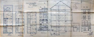 Rue Josaphat 269, Schaerbeek, élévations, coupe transversale et plans des niveaux, ACS/Urb. 164-269 (1906).