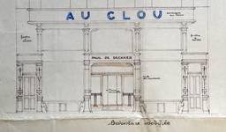 Rue Josaphat 247-253, Schaerbeek, projet de transformation du magasin, état actuel, ACS/Urb. 154-247-253 (1936).