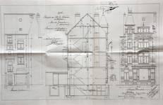 Rue de Jérusalem 27-29, Schaerbeek, élévations avant et arrière et coupe longitudinale, ACS/Urb. 152-29 (1907).