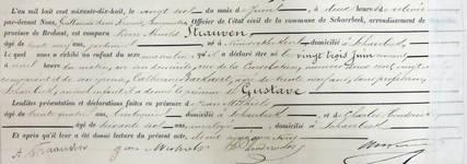 Acte de naissance de Gustave Strauven (Service État civil de la commune de Schaerbeek).