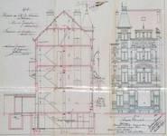Rue de Jérusalem 27-29, Schaerbeek, élévation avant et coupe longitudinale, ACS/Urb. 152-29 (1907).