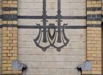 Rue Peter Benoit 2-4 et chaussée de Wavre 517-519, Etterbeek, façade côté chaussée, détail du décor de la partie droite (© APEB, photo 2016).