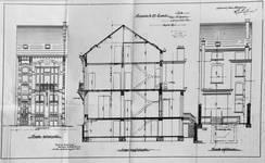 Rue Saint-Quentin 30, Bruxelles Extension Est, élévations avant et arrière et coupe longitudinale, AVB/TP 21435 (1899).