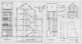 Chaussée de Louvain 229, Saint-Josse-ten-Noode, élévations avant et arrière, coupe longitudinale et élévation de l'atelier, ACSJ/Urb. 6429 (1903).