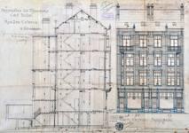 Rue des Coteaux 53-55 et 57-59, Schaerbeek, coupe longitudinale et élévation, ACS/Urb. 58-53-59 (1907).