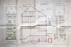 Boulevard Lambermont 146, Schaerbeek, élévations avant et arrière et coupe longitudinale, ACS/Urb. 164-146 (1910).