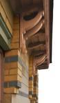 Rue Peter Benoit 2-4 et chaussée de Wavre 517-519, Etterbeek, côté chaussée, détail de la corniche (© APEB, photo 2016).