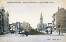 Vue de l'avenue Louis Bertrand, Schaerbeek, carte postale vers 1906-1907 ; à gauche, la maison en construction (collection APEB).