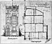 Rue de l'Abdication 4, Bruxelles Extension Est, élévation avant et coupe longitudinale, AVB/TP 6386 (1902).