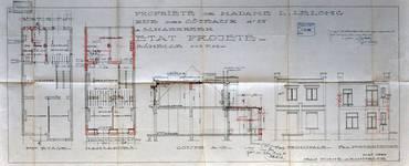 Rue des Coteaux 53-55, Schaerbeek, projet de mansarde, ACS/Urb. 58-53-59 (1929).