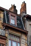 Rue Peter Benoit 2-4 et chaussée de Wavre 517-519, Etterbeek, côté rue, brisis et sa lucarne (© APEB, photo 2016).