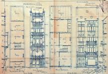 Rue Josaphat 259 et 265, Schaerbeek, élévations, plans et coupes partielles, ACS/Urb. 154-259-265 (1906).