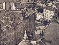 Avenue Paul Dejaer, Saint-Gilles, détail d'une carte postale vers 1908 ; au centre, le n<sup>o</sup> 9, encore pourvu de sa grille sommitale (Collection Belfius Banque © ARB-SPRB).