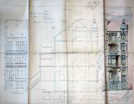 Avenue Louis Bertrand 43, Schaerbeek, élévations avant et arrière et coupe longitudinale, ACS/Urb. 176-43 (1906).