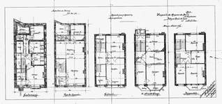 Avenue Paul Dejaer 9, Saint-Gilles, plans des cinq niveaux, ACSG/Urb. 58 (1902).