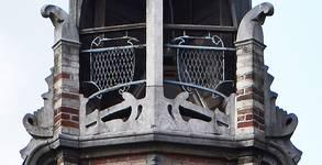 Boulevard Clovis 85-87, Bruxelles Extension Est, partie gauche, détail du couronnement (© APEB, photo 2016).