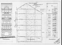 Chaussée de Louvain 231, Saint-Josse-ten-Noode, élévations avant et arrière et coupe longitudinale, ACSJ/Urb. 6430 (1903).