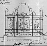 Boulevard Lambermont 150, Schaerbeek, projet des grilles du jardinet, travée centrale, ACS/Urb. 164-150 (1910).